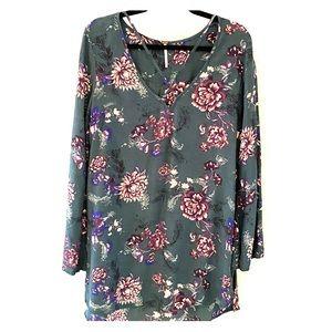 Free People Green Floral Dress Tunic w/ CrissCross